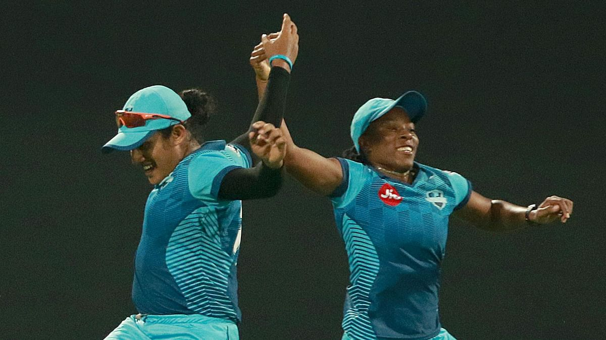 Chamari Athapaththu of Supernovas celebrates after takes a catch of Veda Krishnamurthy (VC)of Velocity during match 1 of the Jio Women's T20 Challenge 2020.