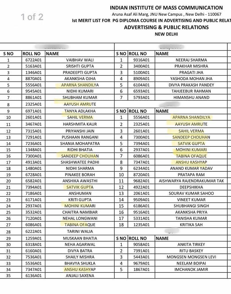 Merit List released on 30 October.