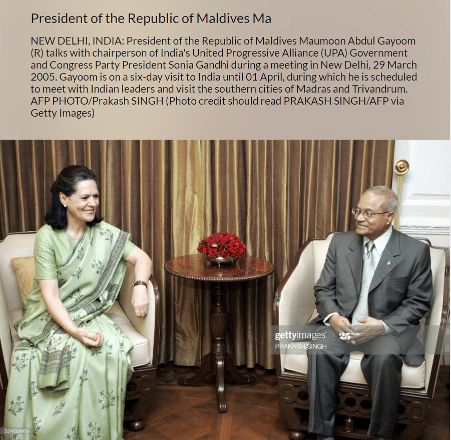 No, Sonia Gandhi Is Not Sitting on Ex-Maldives President's Lap