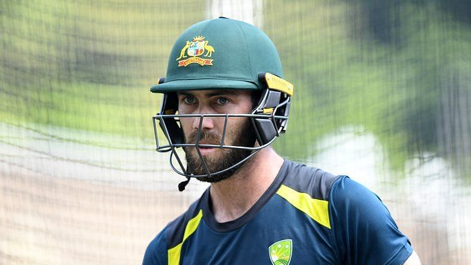 Glenn Maxwell during a net session with Australia.