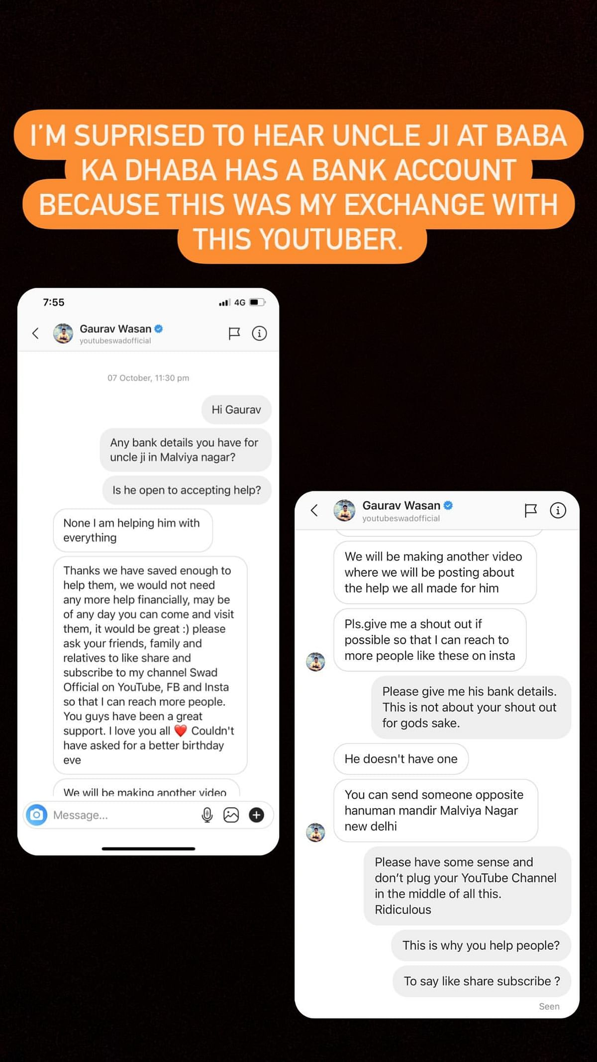 Mallika Dua shared a screenshot of her chat with Gaurav Wasan.