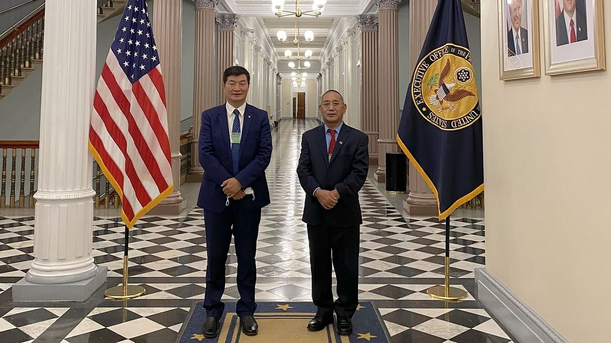 Central Tibetan Administration (CTA) President Lobsang Sangay (left) and his office representative Ngodup Tsering outside the White House compound after the crucial meeting in Dharamsala, Himachal Pradesh on November 21, 2020.