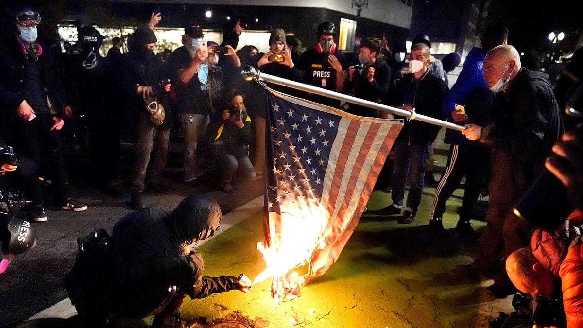 A protester lights an American flag on fire during a demonstration Wednesday, Nov. 4, 2020, in Portland. Image used for representation.