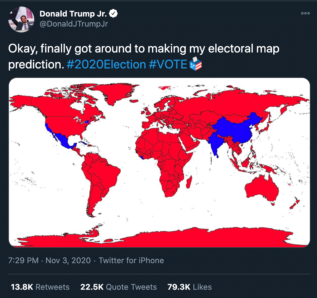 Image of: Us Elections 2020 Take His Colouring Pencils Away Trump Jr S Election Map Slammed