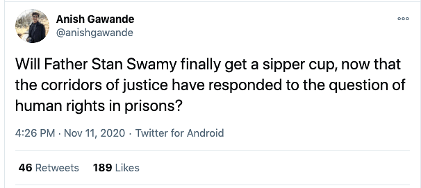 'Will Fr Stan Swamy Now Get a Sipper Cup?' Twitter on Arnab's Bail