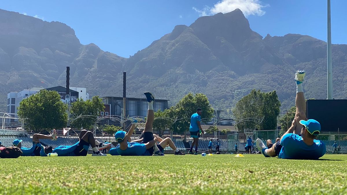 South African players at a training session.