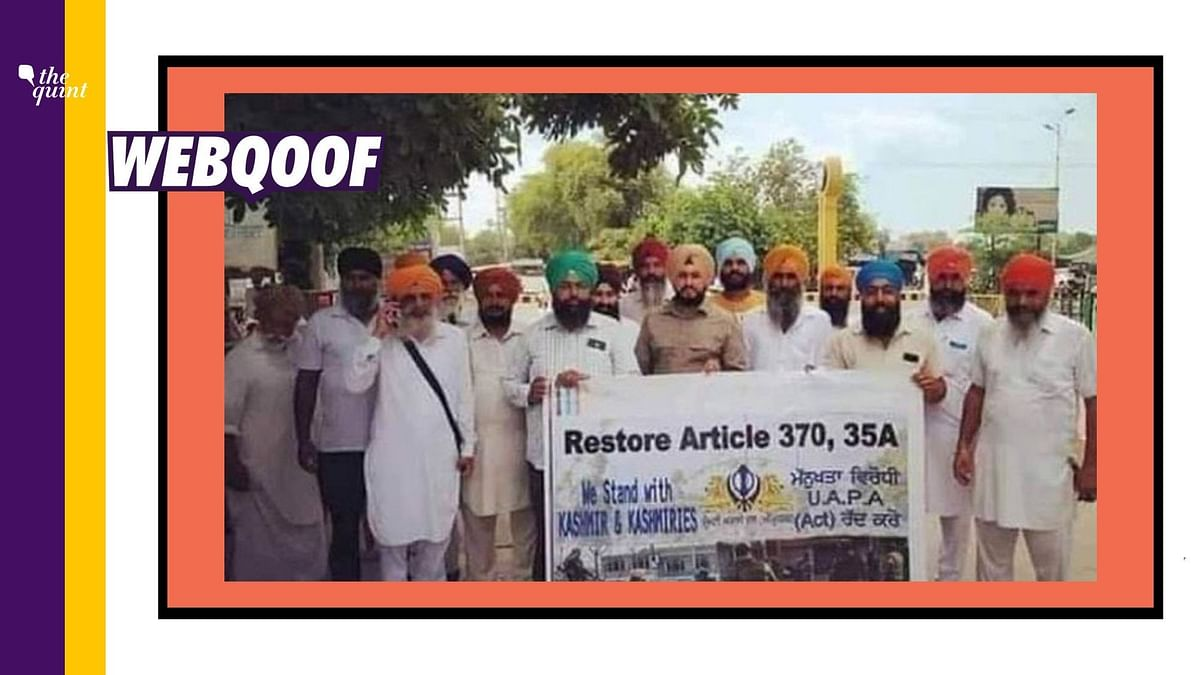 An old image of a protest against the abrogation of Article 370 has been revived to falsely claim that it is from the ongoing farmers' protest.