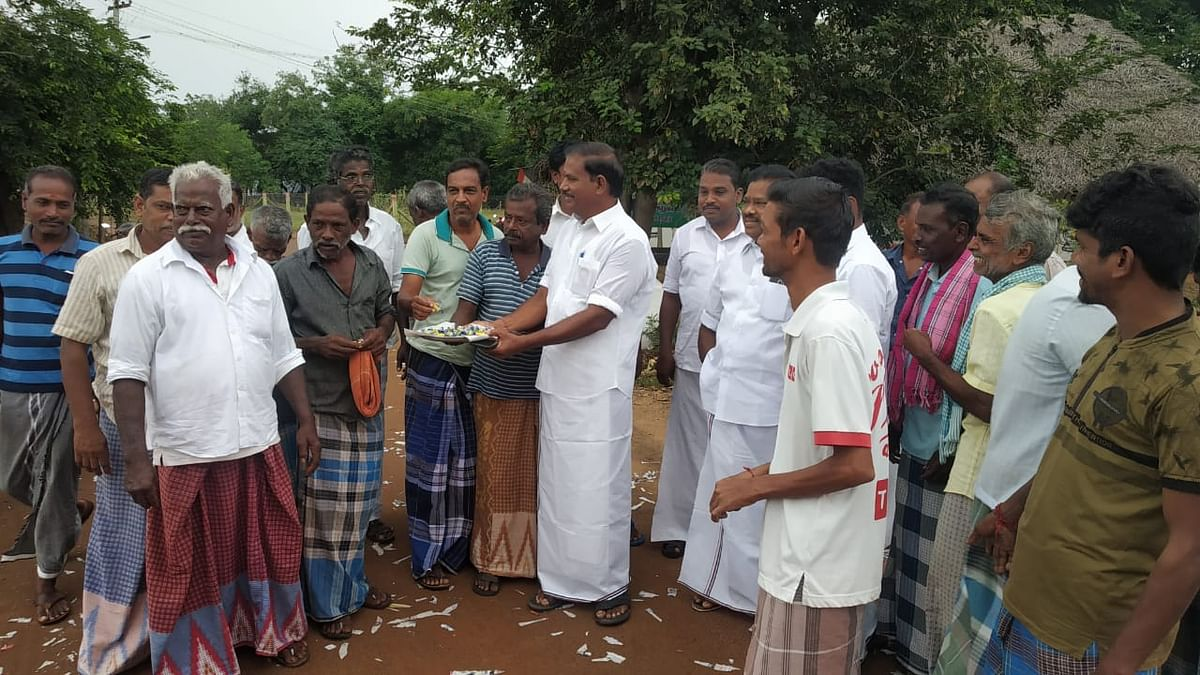 Villagers distributed sweets and offered prayers at the temple.