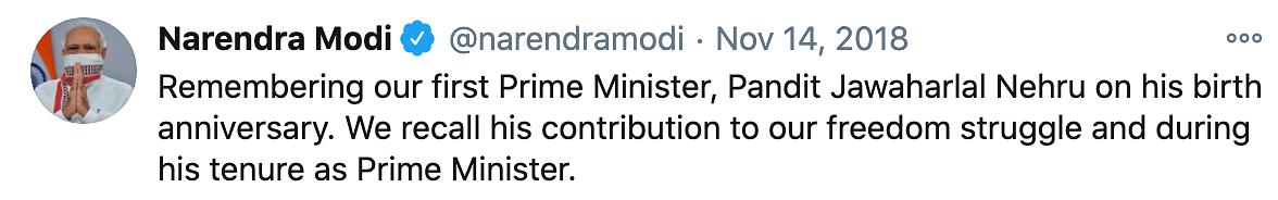 PM Narendra Modi wishes Pundit Nehru on his birthday.