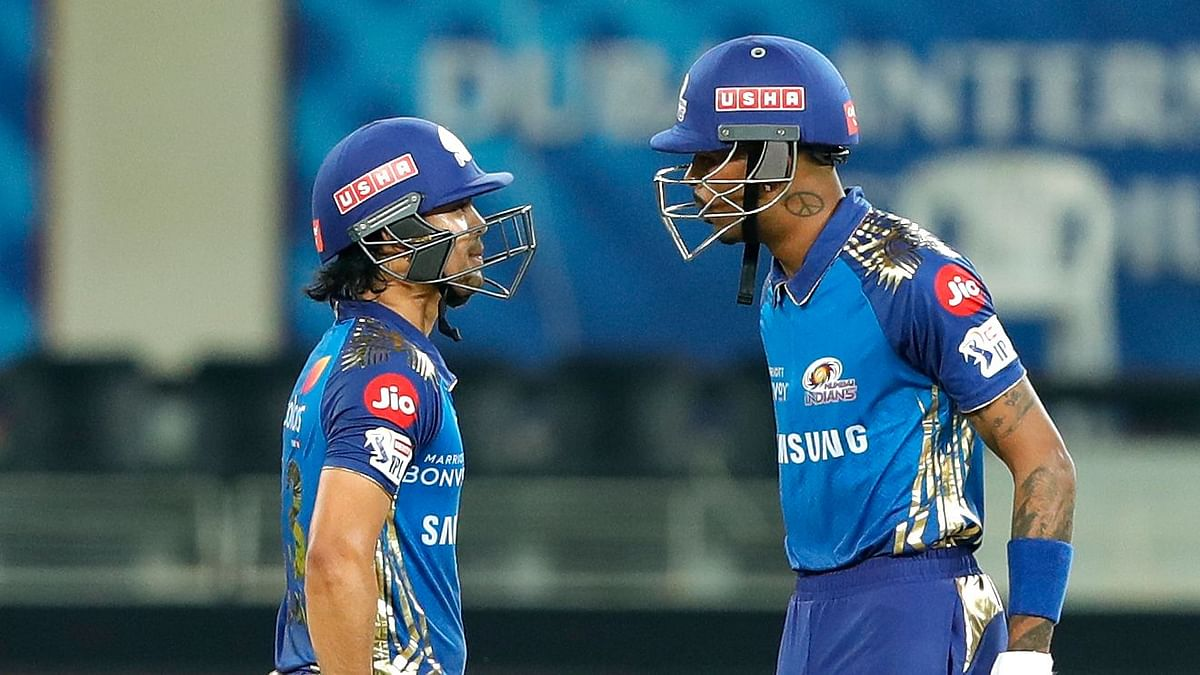 Hardik Pandya and Ishan Kishan have a discussion during their match-winning partnership.