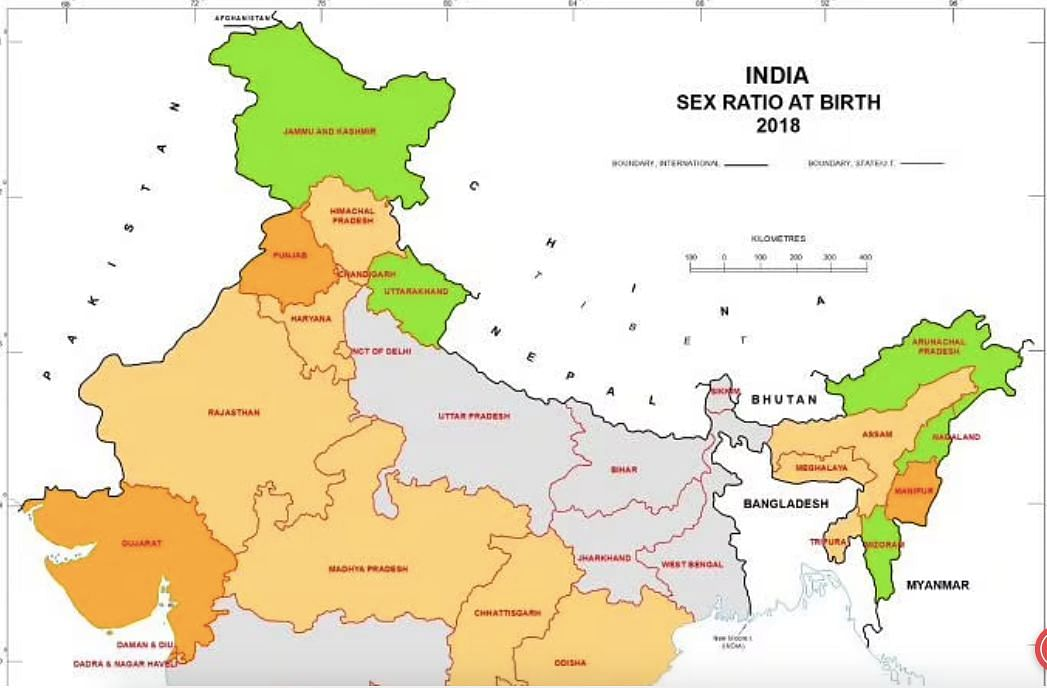 Arunachal tops the list with 1,084 females per 1,00 males followed by Nagaland at 965 and Mizoram at 964.