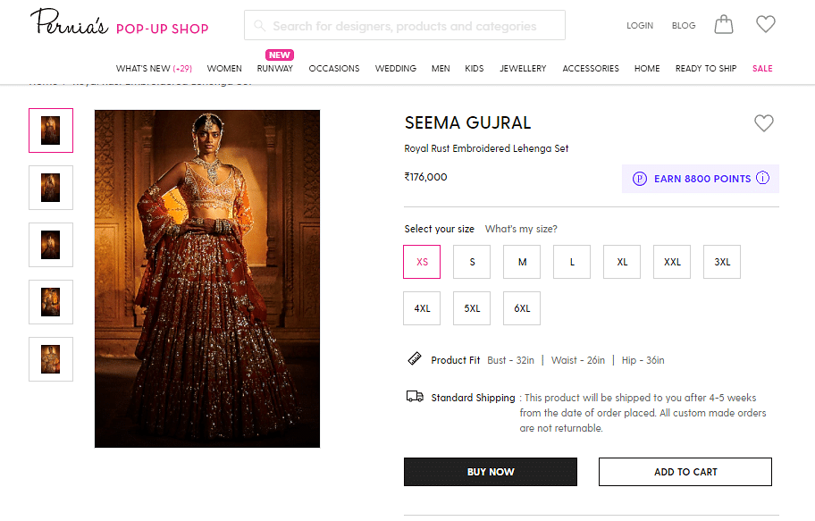 The Royal Rust Embroidered Lehenga Set by Seema Gujral costs Rs 1,76,000 in sizes XS-XL