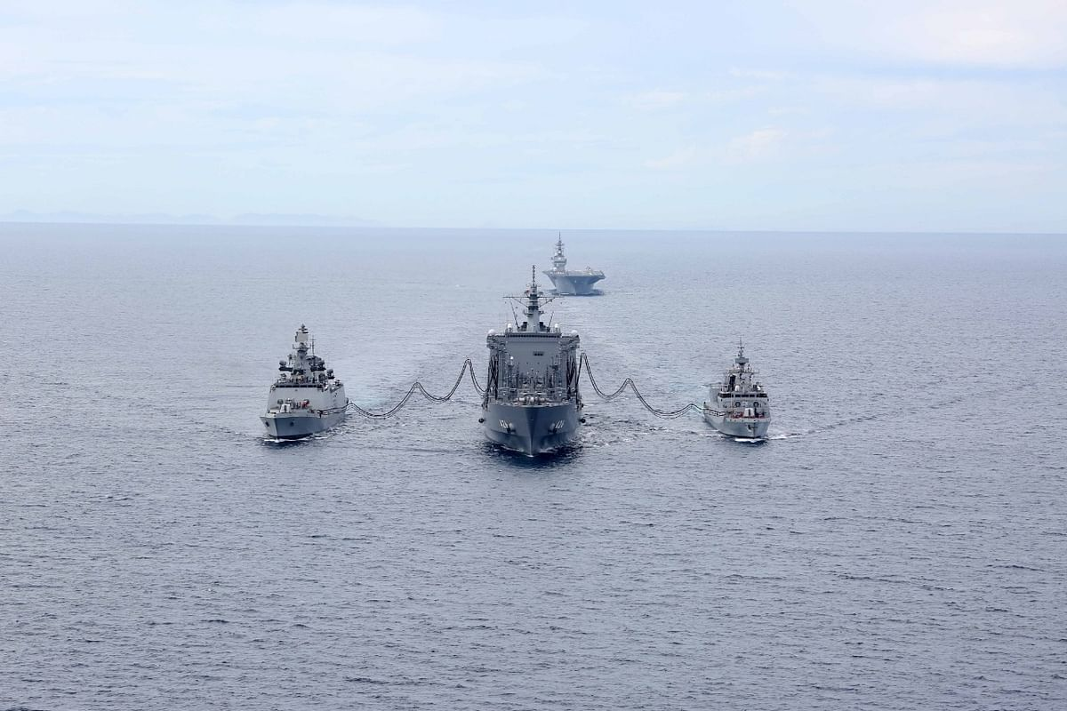 Image of ships that will participate in the Malabar Exercise.