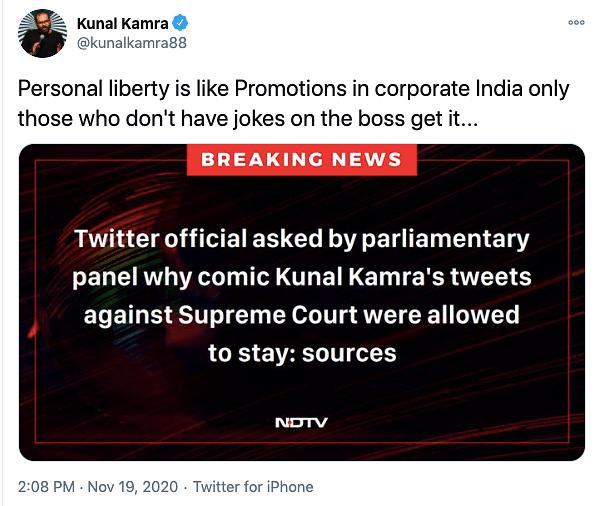 Parl Panel Grills Twitter on Kunal Kamra's Tweets About CJI