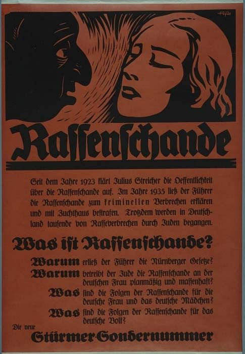 The Der Sturmer poster explaining why the second Nuremberg Law was required.