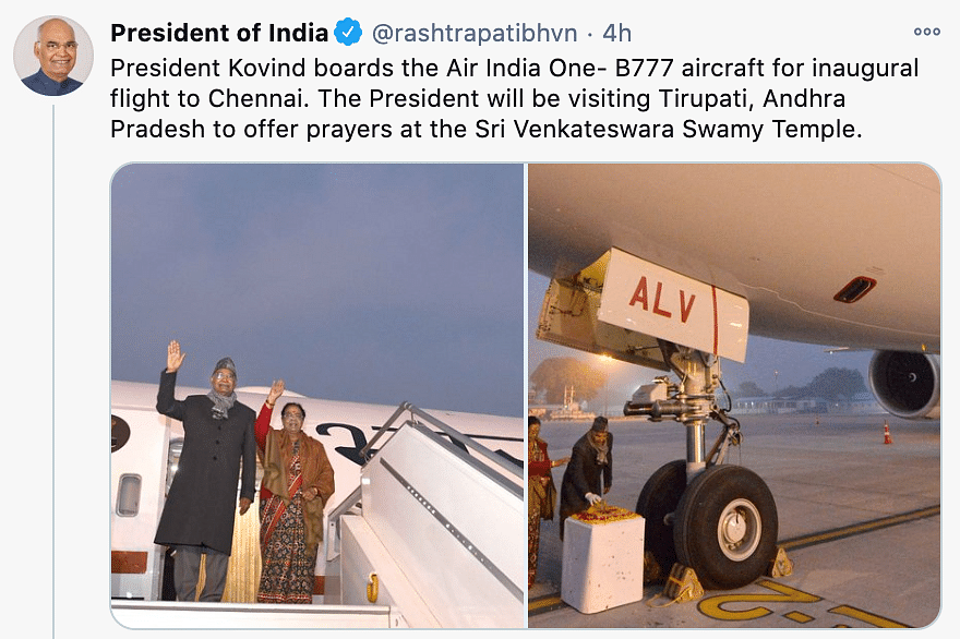 President Ram Nath Kovind boarded the Air India One-B777 aircraft on Tuesday for its inaugural flight to Chennai