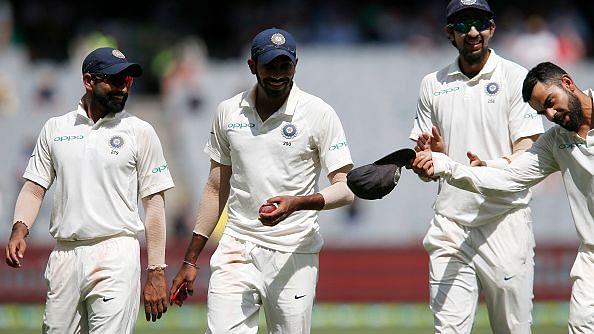 Mohammed Shami, Jasprit Bumrah and Ishant Sharma share a light moment with Virat Kohli.