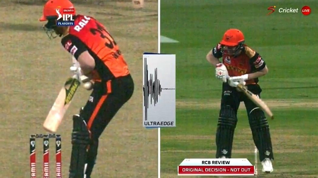 David Warner was given out after RCB reviewed the on-field decision.