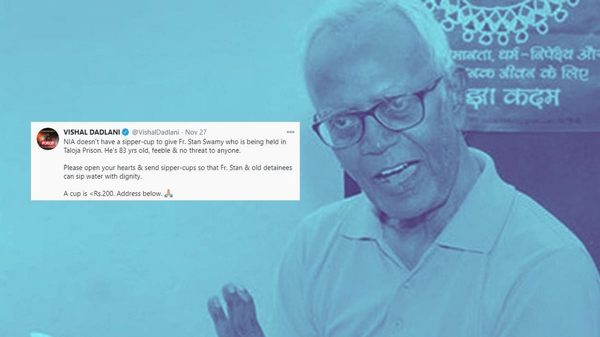 83-year-old Stan Swamy, a Parkinson's patient, has been demanding for a sipper and a straw for over 20 days.