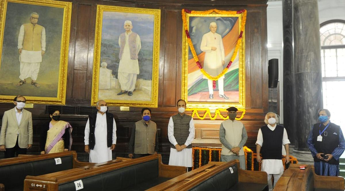 Parliamentary members paying tribute to Pandit Nehru on his birthday.