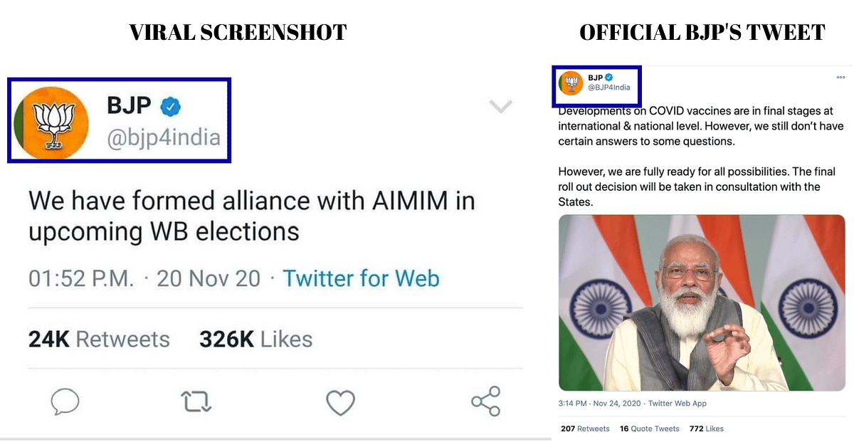 Left: Viral screenshot. Right: Tweet shared by official handle of BJP.