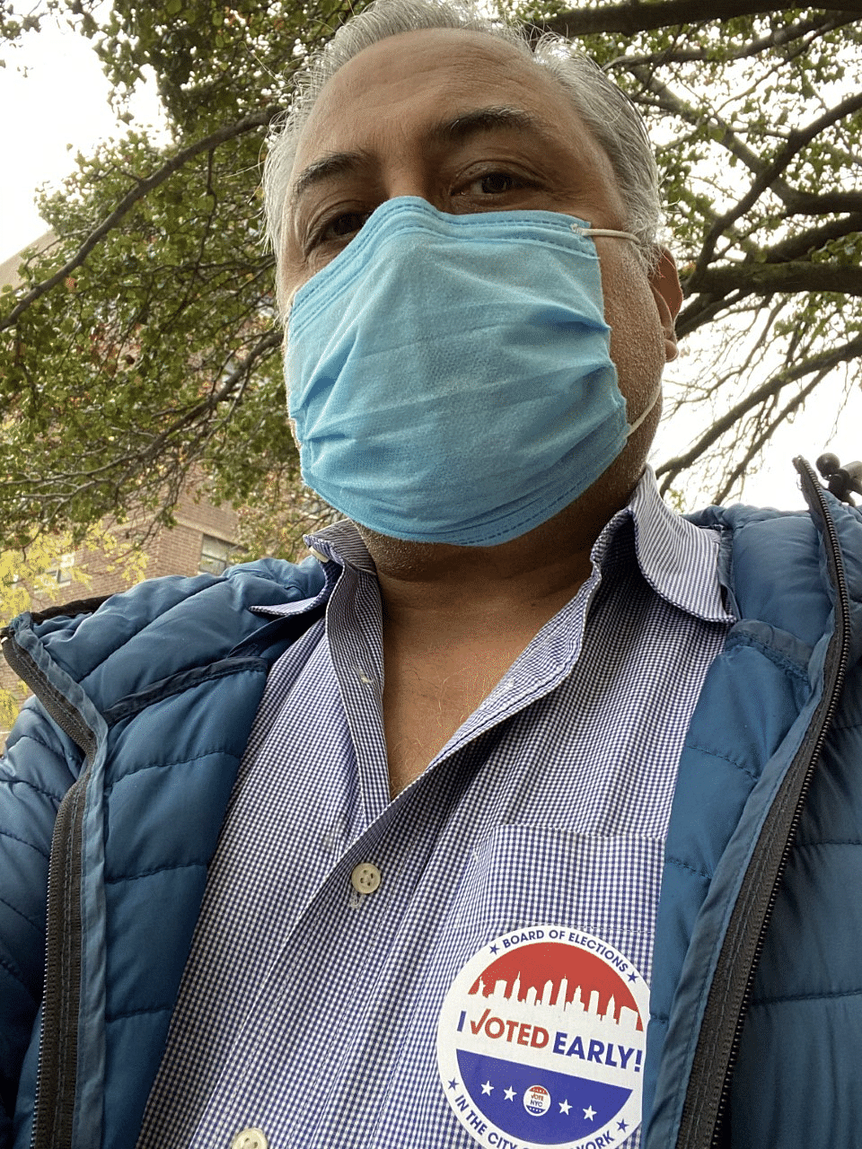 A selfie of the author, Aseem Chhabra, after he voted.