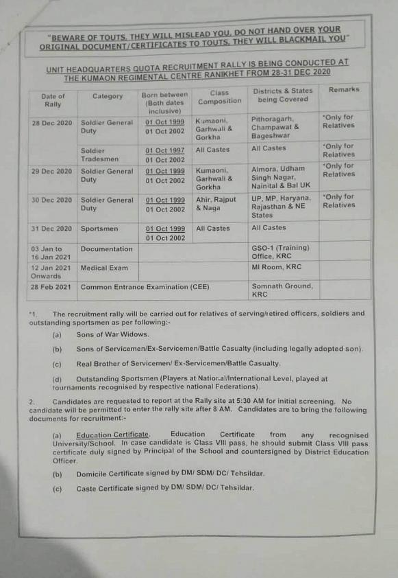 The recruitment schedule.