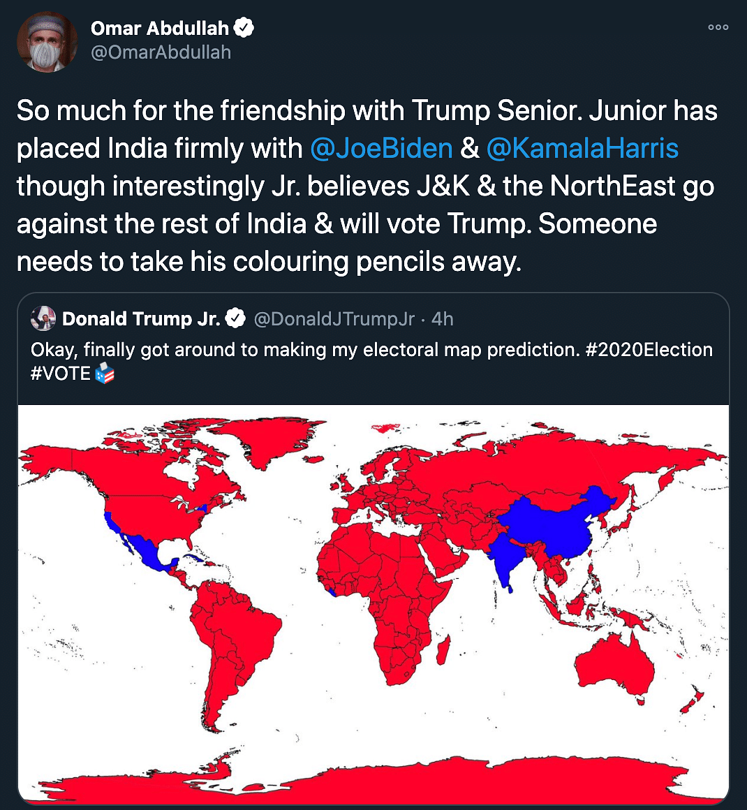 Us Elections 2020 Take His Colouring Pencils Away Trump Jr S Election Map Slammed