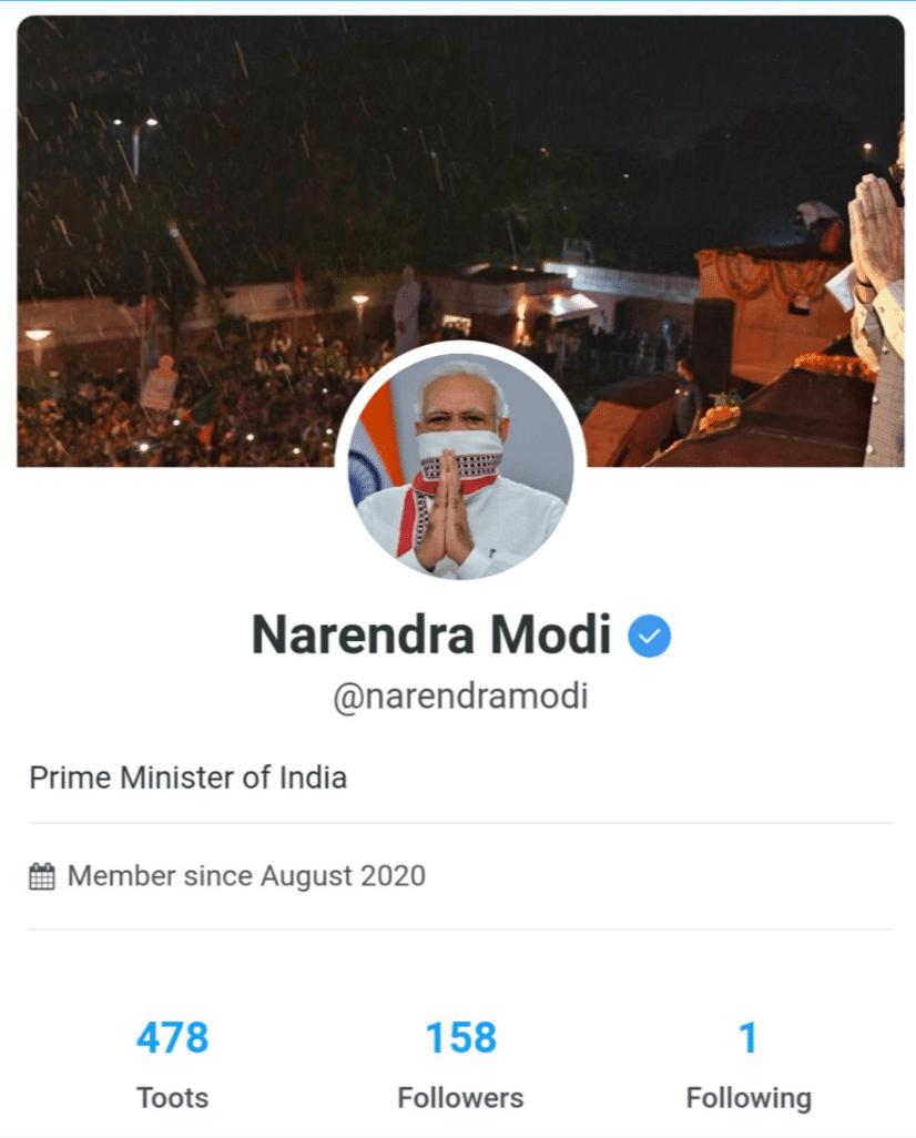 PM Narendra Modi's profile on Tooter.