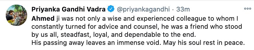 Priyanka Gandhi reacts to Ahmed Patel passing away