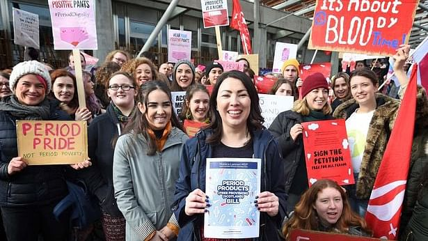 MP Monica Lennon along with other women that took part in the demonstration in Scotland.