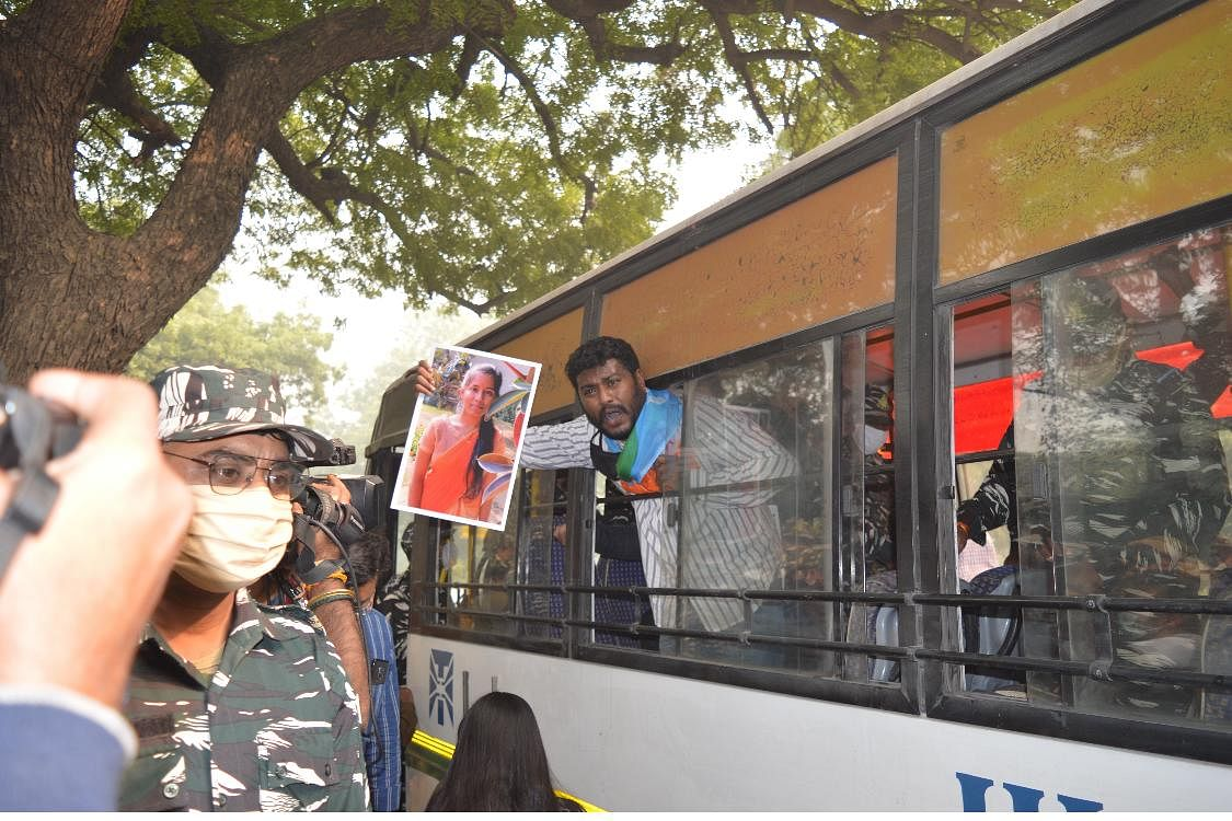 National Student Union of India (NSUI) protested outside the residence of Union Education Minister Dr Ramesh Pokhriyal on Monday afternoon.