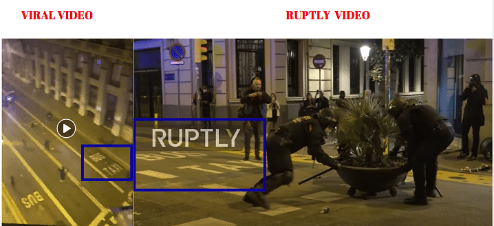 Left: Viral video. Right: Ruptly video.