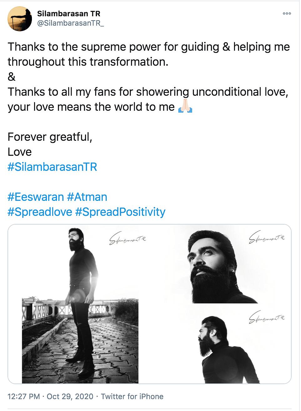 Actor Silambarasan's Twitter post.
