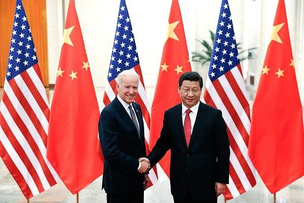 Then-Vice President Biden meeting Chinese leader Xi Jinping in 2013.