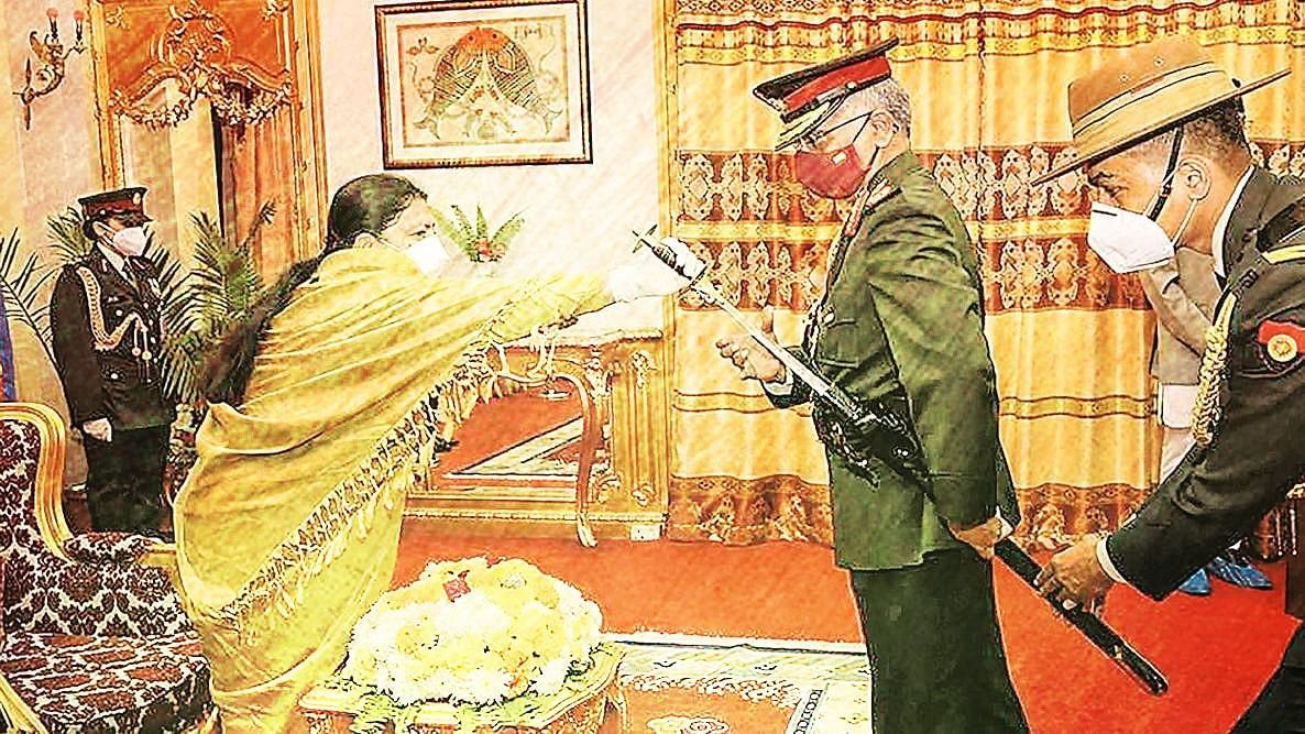 General Manoj Mukund Naravane was conferred with the honorary rank of General of the Nepal Army.