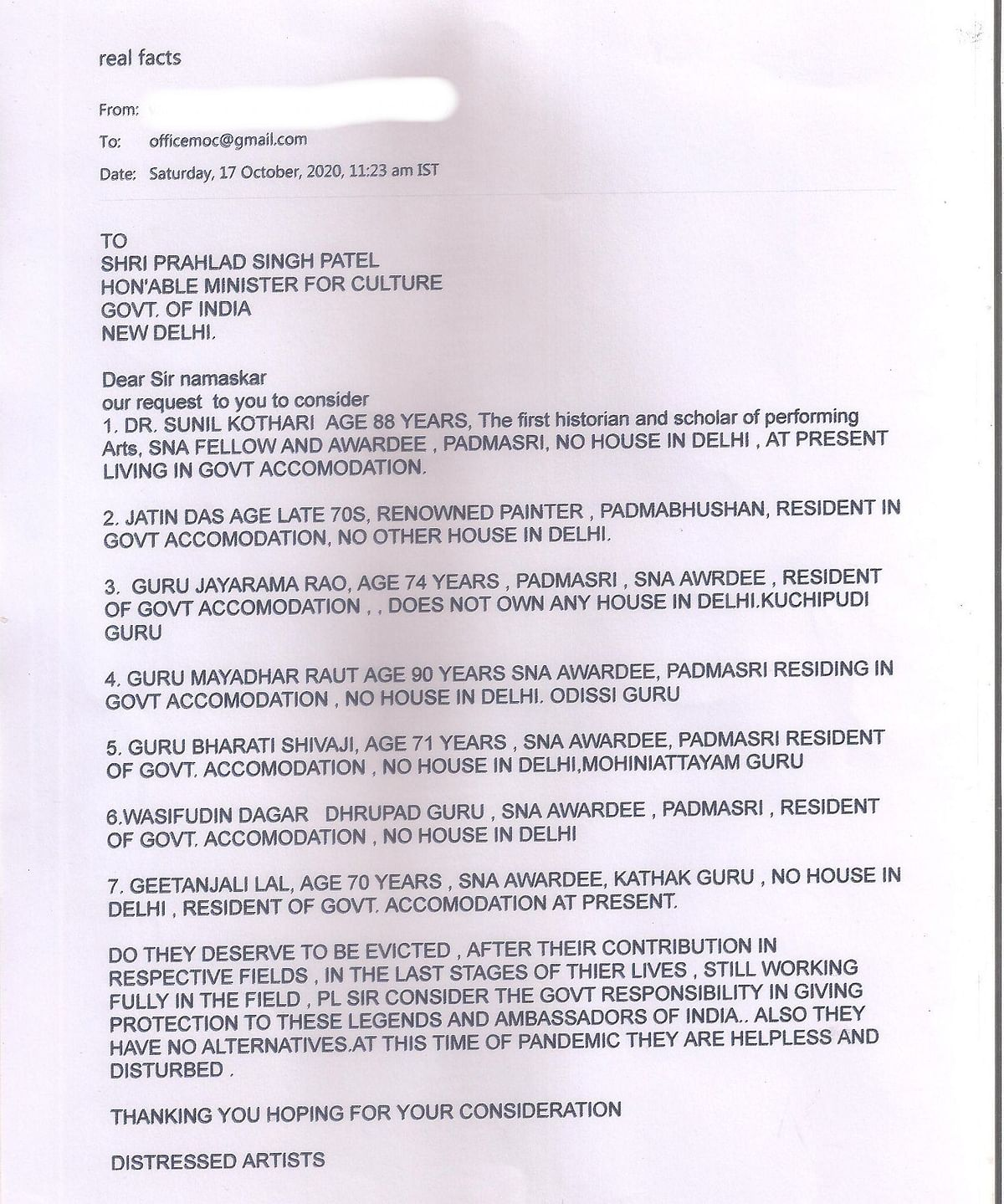 One of the letters sent to the Ministry of Culture on 17 October.