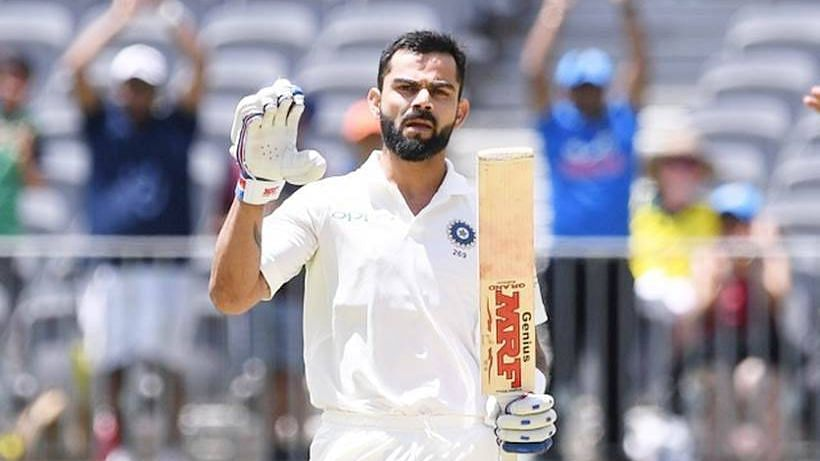 Virat Kohli makes a gesture while batting against Australia.