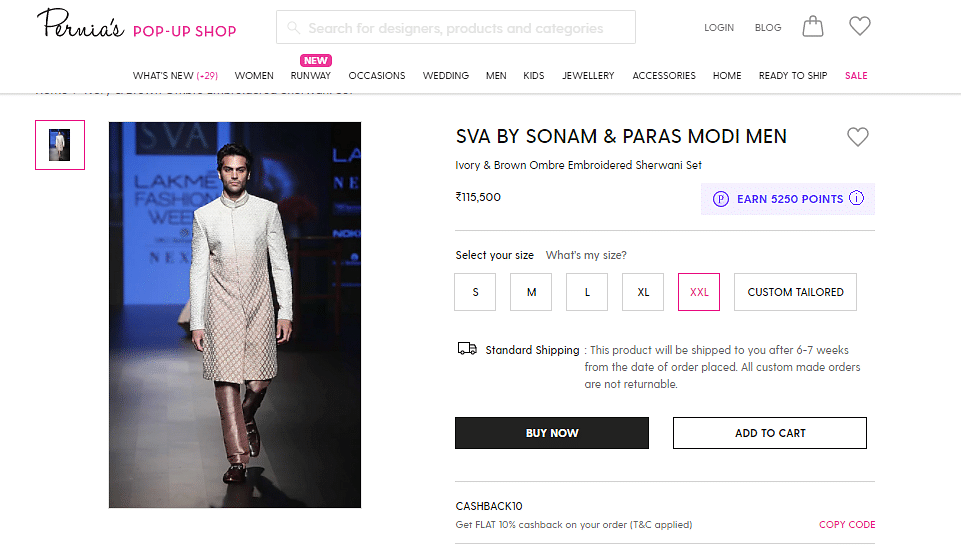 This sherwani set by SVA costs Rs 1,15,500 in size XXL.