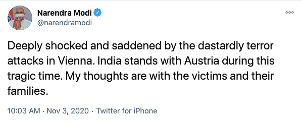 PM Modi Expresses Shock at Attack in Vienna That Killed Four