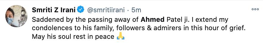 Smriti Irani reacts to Ahmed Patel passing away