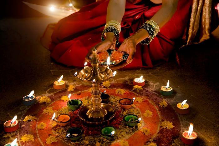 Chhoti Diwali Puja and rangoli photo.