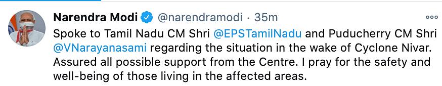 PM Narendra Modi extends support to Tamil Nadu and Puducherry