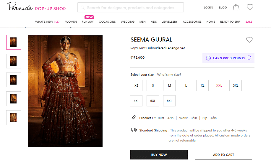 The Royal Rust Embroidered Lehenga Set by Seema Gujral costs Rs 1,93,600 for all sizes above XL.