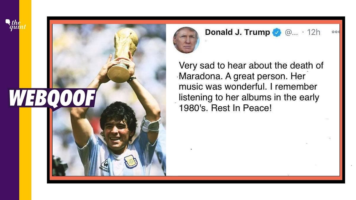 A viral photo claims that Donald Trump confused football legend Diego Maradona with famous American singer and songwriter Madonna.
