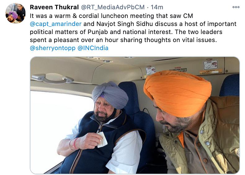 Punjab CM Amarinder meets with Navjot Singh Sidhu