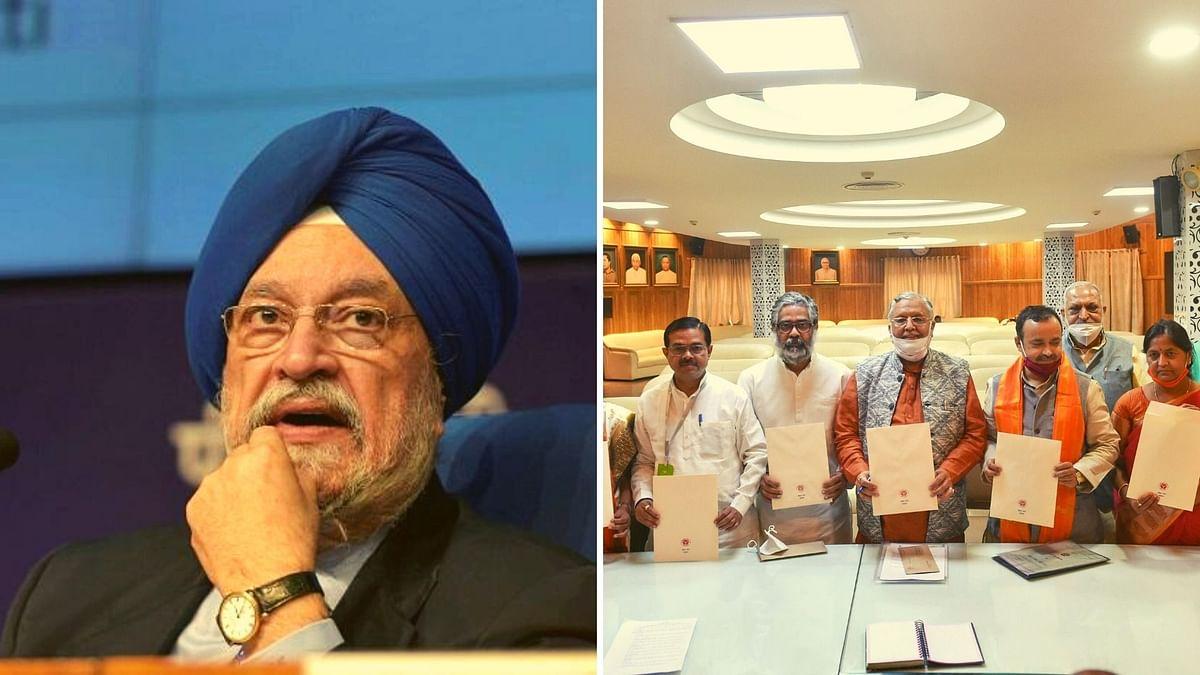 File image of Union Minister Hardeep Singh Puri, other candidates elected to the Rajya Sabha.