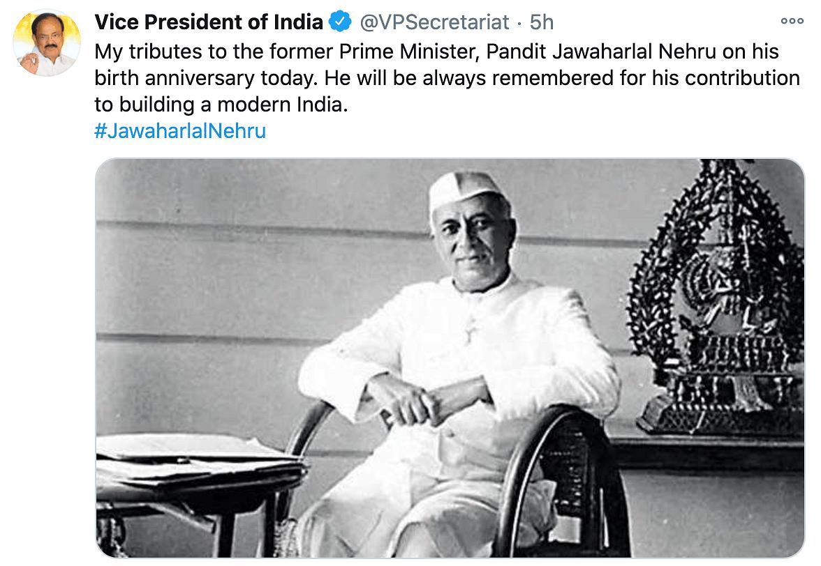 Vice President M Venkaiah Naidu offers his greetings to Nehru on his birthday.