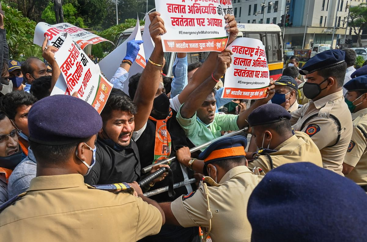 Bharatiya Janata Party (BJP) workers protest against Maharashtra government after Republic TV Editor-in-Chief Arnab Goswami was arrested for allegedly abetting the suicide of a 53-year-old interior designer in 2018, in Mumbai.