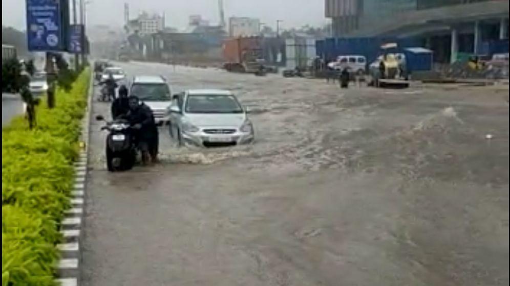 Several roads in the IT corridor in Chennai are waterlogged.
